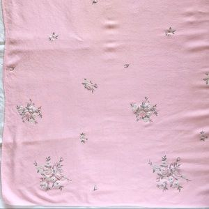Vintage Pink Tablecloth Square Solid with Flowers